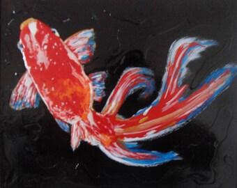 Original Mixed Media Painting, Gold Fish Art, Wall Art, Living Room Decor, Dining Room Decor, 3D Art