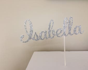 Custom name, name cake topper, centerpiece, communion decoration, wedding decoration, baptism, confirmation, bat bar mitzvah, sparkle name