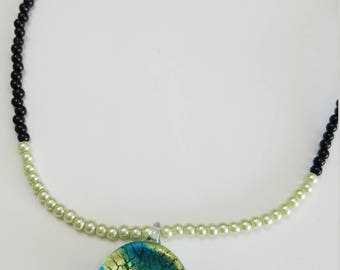 Green and blue charm necklace
