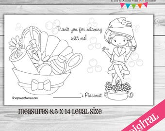 DIGITAL Spa party coloring placemat 2 sizes included!