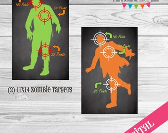 Zombie Target Nerf party signs, nerf party, nerf digital, nerf printables