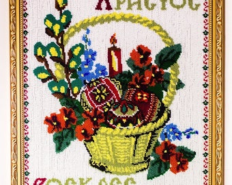 Beaded hand-embroidered picture Easter basket eggs candle willow decor beadwork bead art interior design decoration Ukrainian Ukraine