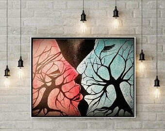 Tree Love Abstract Painting on Stretched canvas by Amal Raj Augustine