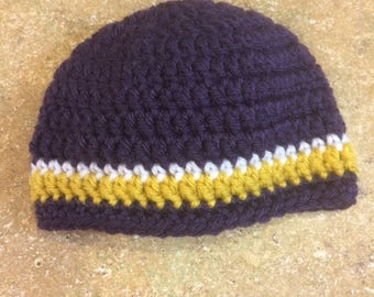 Ready to ship. Crocheted baby hat. 0-3 months. Purple and yellow. University of Washington. Huskies. Baby gift. Shower gift.