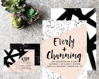 Printable Wedding Invite | Printable Invitation | Digital Invitation | Modern Invite | Black + White Invite | Abstract Invite