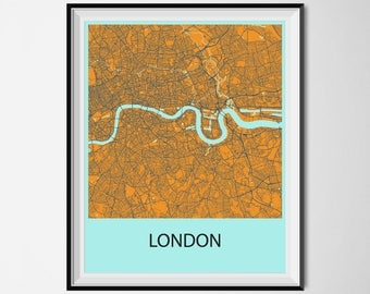 London Map Poster Print - Orange and Blue