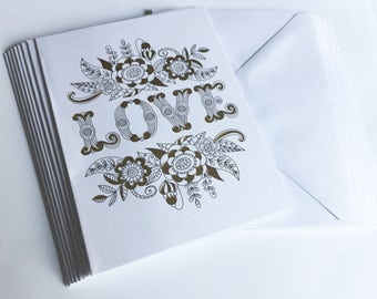 Love Note Cards w/Envelopes, Coloring Cards, Note Cards set of 8, Gold Foiled Embellished, Romantic Cards, Blank Inside, Sentiment Cards