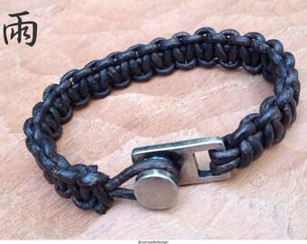 Leather macrame bracelet / Pulseira artesanal unisex, Macramê de couro inglês mogno