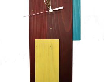 "Wood Wall Clock ""Rainbow"" Mid Century Modern Style"