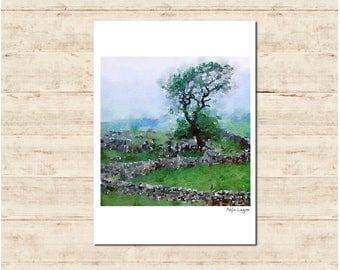 Stone Fence England Watercolour Painting Postcard Poster Art Print Q192
