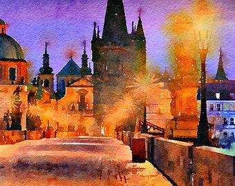 Charles Bridge Prague Czech Republic Watercolour Painting Postcard Poster Art Print Q289