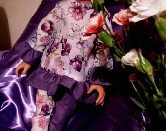 Purple Floral Tunic and Leggings Doll Outfit