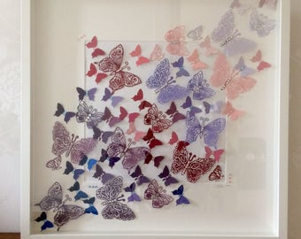"Large unique handmade picture: 3D diecut, punched and embossed ""kaleidoscope"" of graduated colour butterflies, embellished with crystals"