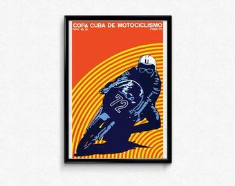 Vintage Cuban Motorcycle Poster