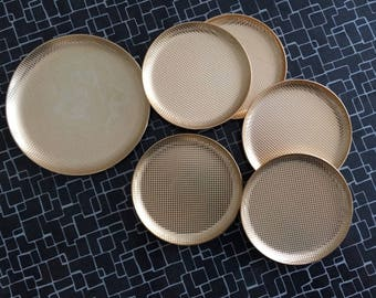 Rockabilly 50s coasters gold / Golden rockabilly coasters