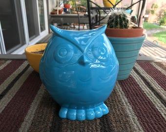 Blue Owl Ceramic Figure Sculpture Home Garden Decor