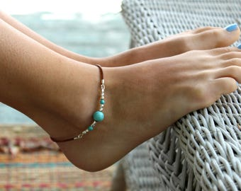 Turquoise Anklet, Ankle Bracelet, Anklet, Women Anklet, Minimal Anklet, Hippie, Anklet, Beach Anklet,