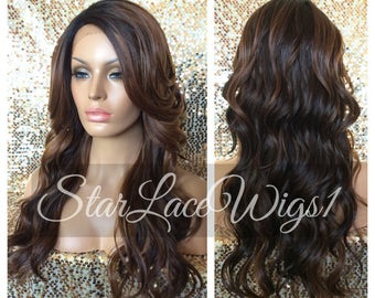 Long Wavy Brown Lace Front Wig - Highlights - Layers - Bangs - Heat Resistant Safe