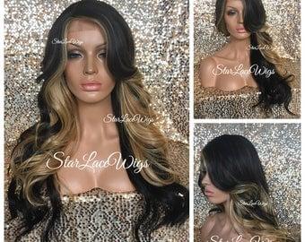 Long Brown Honey Blonde Full Wig - Loose Curls - Bangs - Layers - Side Part - Heat Resistant Safe