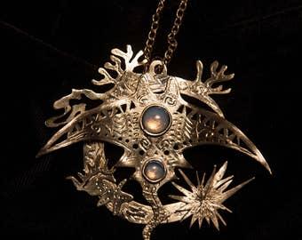Moon Manta Ray pendant
