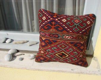 Turkish handmade Kilim pillow 16x16 inch