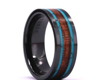 koa wood turquise inlay 8mm black ceramic mens wedding band koa wood bands wedding band