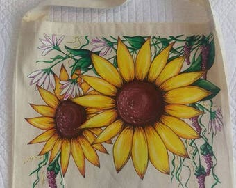 Hand painted sunflower tote bag