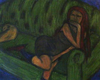 Girl On Green Sofa (after Max Pechstein)