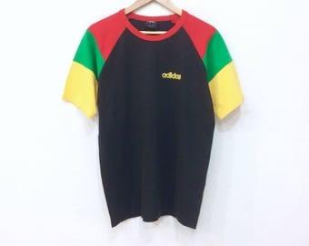 Rare! ADIDAS RASTA small logo t shirt mix colour medium size