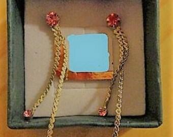 silver/pink glass stone tassel stud earrings.