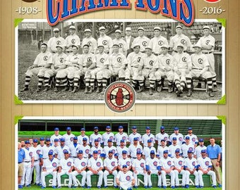 Chicago Cubs 1908 & 2016 World Series 8x10 Photo *Licensed*