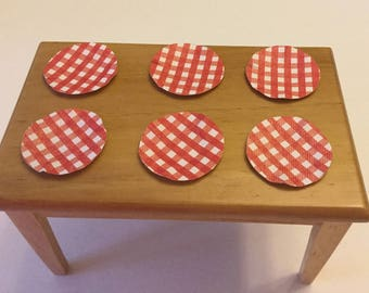 Dollhouse Miniature Red & White Checked Paper Plates