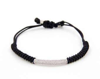 Bracelet silver zircon part handgeflechtet Classymo