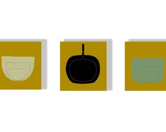 Mid Century Art,Art Blocks,Set of 3,Small Art,Décor,Original Prints