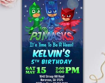 Pj Masks Birthday/ Pj Masks Invitation/ Pj Masks Birthday Invitation/ Pj Masks Banner/  Pj Masks Invite/ Pj Masks Birthday Card/ Pj Masks