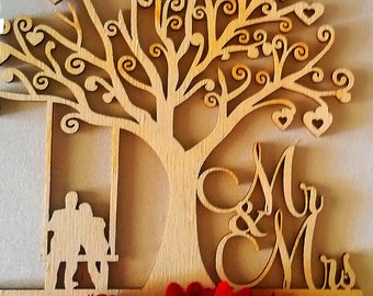 Laser Cut Rustic Cake topper for weddings, natural wood,