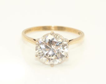 Vintage 9Ct Yellow Gold 3.6 Ct Solitaire Clear Cubic Zirconia Ring, Size Q 1/2