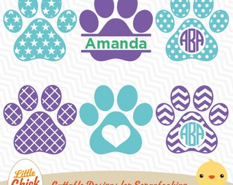 DOG Paw Print svg eps dxf cricut, silhouette studio, sure cuts a lot, cameo, vector, digital files LCS-003