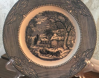 Mount Clemens Currier and Ives Winter Scene China Underglaze Ironstone Made In Usa Dinner Plate