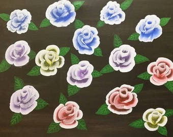 Blue Roses, Purple roses, Red roses, and Yellow Rose painting