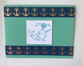 Hand Stamped Narwhal Whale Card