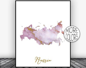 Russia Print, Watercolor Print, Russia Map Art, Map Painting, Wedding Gift, Country Art, Office Decor, Country Map ArtPrintsZoe