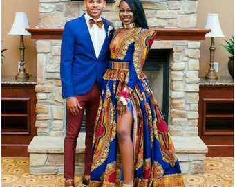 Dashiki dress, dashiki maxi dress, dashiki dress with high cut slit, dashiki prom dress, dashiki wedding dress, dashiki gown