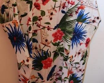 Floral birds print kimono