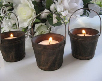Mini Shabby Chic Wooden Bucket Tea light Candle Holders Rustic Wedding Favors Wedding Candle Holder Wedding Favors Rustic Home Decor