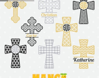 Christian Crosses Monogram, Christian Crosses Clipart, Christian Crosses cutting file, SVG, SVG, dxf, downloadable.