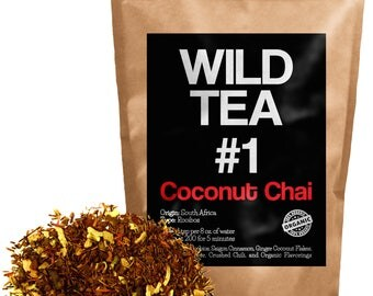 Coconut Chai, Red Rooibos Loose Leaf Tea Blend, Wild Tea #1 Herbal Chai Tea (8 ounce)