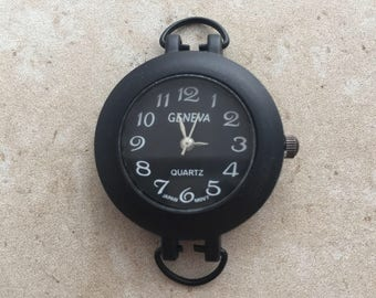 Round black watch face for beading, jewelry making