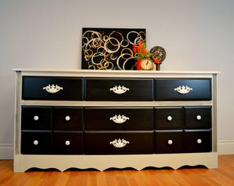 SOLD Black and White Hand Painted dresser