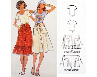 VINTAGE 70's Wrap Skirt and Tshirt UNCUT Sewing Pattern BUTTERICK 4761 - Summer Skirt with Frill : Sewing Pattern - Bust 87 cm / 34""